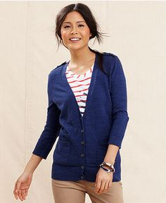 Tommy Hilfiger Cardigan, Three-Quarter-Sleeve V-Neck - Sweaters - Women - Macy's