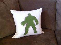 hulk reverse applique pillow