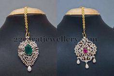Jewellery Designs: Diamond Tikka Sets Cum Pendants