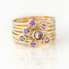 Purple Sapphire and Tanzanite Stacking Ring Set in 14k Yellow Gold