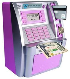 Children's ATM Savings Bank – Limited Edition – Pink/Silver – Toys – kids Birthday Gifts For Girls, Girl Birthday, Rangement Makeup, Money Safe, Little Girl Toys, Cool Toys For Girls, Baby Girl Toys, Savings Bank, Cool Inventions