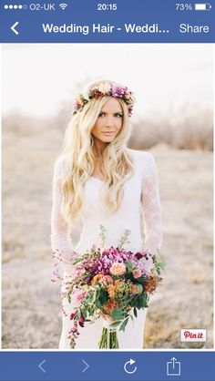 Loose waves with flower head garland!