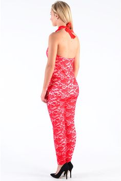 Pop Couture - Flint Lace Halter Neck Tie Jumpsuit  In Red, £32.00 (http://www.popcouture.co.uk/clothing/playsuits-jumpsuits/jumpsuits/flint-lace-halter-neck-tie-jumpsuit-in-red/)