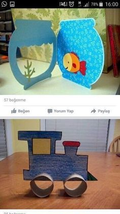 This little fish bowl could be made of felt and the fish could be changed out along with little castles and sea weeds.This says: Kinder / Basteln Fish Crafts, Diy And Crafts, Arts And Crafts, Projects For Kids, Diy For Kids, Crafts For Kids, Paper Fish, Art N Craft, Animal Crafts