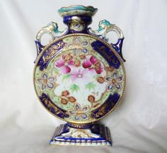 Rare Nippon Hand Painted Moon Flask Vase Cobalt Blue Gold Gilding And Gold Beading
