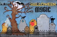 love this Halloween layout from Suzy Plantamura in Creating Keepsakes (links over to CK for final version). Would be fun to something similar with little photos on the tombstones, maybe? #scrapbooking