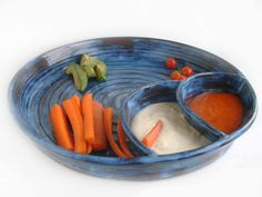 Pottery chip and dip Blue veggie platter Stoneware by ClaybyStacia