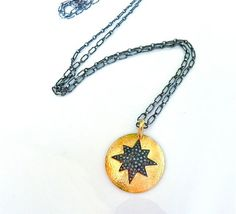 Pave Diamond Starburst Long Necklace/ 24 K Gold Plate with Champagne Diamonds/  Oxidized Sterling Chain/ Rocker Chic/