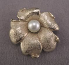 Signed Emmons Gold Tone Flower Pin/Pendant with Faux Pearl Center c1950-60s by thejeweledbear on Etsy
