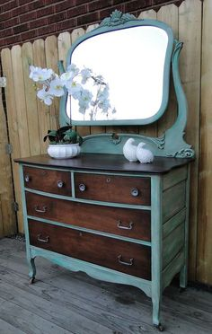 Beautiful Dresser in a Custom Green Milk Paint and Java Gel Stain | Design Ideas For Finishing Furniture, Cabinets