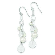 Sterling Silver Freshwater Cultured Pearl Crystal Dc Bead Cluster Drop Earrings - JewelryWeb, Women's, Size: 62