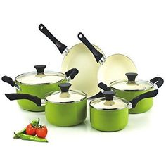 10-Piece Cookware Set Cook N Home NC-00358 Nonstick Ceramic Coating Green #CookNHome
