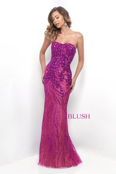 A glittering three dimensional pattern of swirling sequins adorns this strapless piece of perfection. This Blush Prom original has a modified sweetheart neckline, fitted bodice with a bra back detail, and a relaxed skirt that falls into a sweeping train. Back zipper closure.