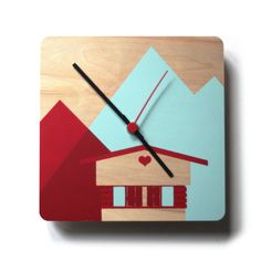 Screen-printed Wall Wooden Clock 'Chalet' by MadameChalet on Etsy