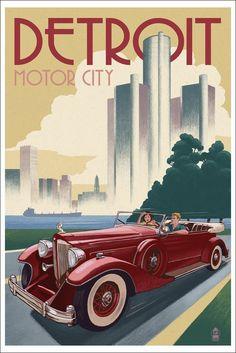 Amazon.com: Detroit, Michigan - Vintage Car and Skyline (12x18 Art Print, Wall Decor Travel Poster): Home & Kitchen