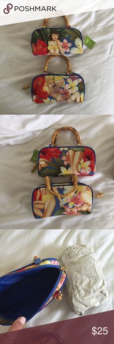 Hawaiian Themed Hula Purses Brand new purses! 15 each or 25 for both! Cute for the summer. One has a tag and one doesn't but they both have the original paper stuffing inside. Living Things Bags