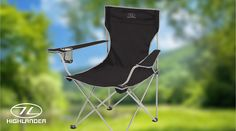 The Highlander Traquair Chair is a sturdy, lightweight and comfortable chair made from durable steel and polyester. Comes with a handy drinks/cup holder in the armrest and includes a carry bag to make it easy to transport.