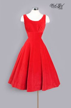 1950's Red Velvet Tea Length Fit & Flare Evening Dress- not a fan of velvet but it's a beautiful dress