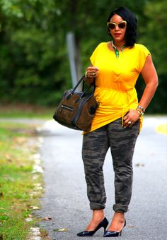 My style: Avaleigh yellow dress, Victoria's Secret camouflage pants, Celine bag, Zara heels, Anna Dello Russo at H sunglasses and alligator necklace