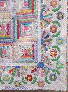 hexagon flowers in a border - Grandmother's Cabin by Rahna Summerlin