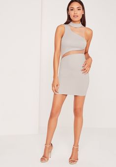 Amp up your look, score some new and get set to be the hottest and classiest girl in your squad this weekend! Featuring a sexy shade of ice grey, on trend high neck, mini length, and asymmetric mesh inserts for a sexy finish, this dress wil...