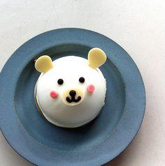 // cocoaloco // Bear Cupcakes, Cute Cupcakes, Fancy Cakes, Mini Cakes, Cute Food, Yummy Food, Korean Cake, Cute Baking, Teddy Bear Cakes