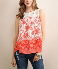 Look at this #zulilyfind! Vermilion Floral Lace Sleeveless Top #zulilyfinds