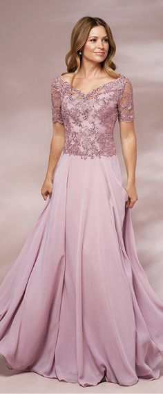 Sweet Tulle & Chiffon V-neck Neckline Short Sleeves A-line Mother Of The Bride Dresses With Lace Appliques & Hot Fix Rhinestones