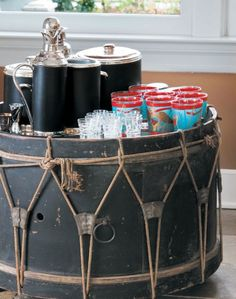 ❖ Katie Couric's Drum Bar in her Hamptons Home ❖ Photo: Keith Scott Morton ❖ Cottages & Gardens ❖