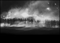 "Robert Longo - ""Untitled (Ferguson Police, August 13, 2014)"" 2014 charcoal on paper"