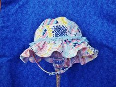 Baby Girl Sunhat Abstract with Lace and Chin Straps by AdorableandCute on Etsy