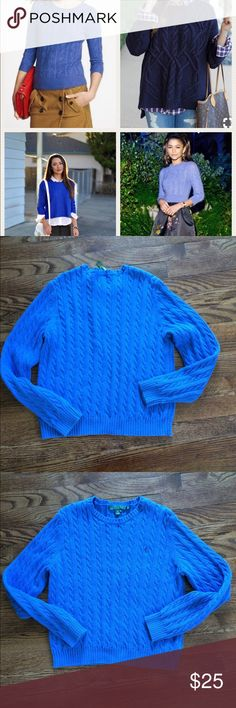 Ralph Lauren blue cable knit sweater Beautiful blue and classy cable knit. Just perfect!  The cover pic is for style ideas and is not actual item. EUC. Smoke free. Bundle 3 or more items to save 25%!😊 Lauren Ralph Lauren Sweaters Crew & Scoop Necks