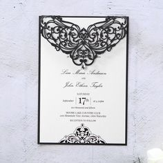 A classic styled pocket invitation pairing that exudes regal detailing and elegant embellishments with quilt patterned letterpress and gloss gold hot foil stamping for your personalised wedding text and custom monogram Traditional Wedding Invitations, Wedding Invitation Samples, Classic Wedding Invitations, Engagement Invitations, Laser Cut Wedding Invitations, Wedding Invitation Design, Wedding Stationery, Pocket Invitation, Laser Cut Invitation
