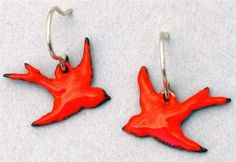 red cardinal  bird on a wire earrings by designoptions on Etsy