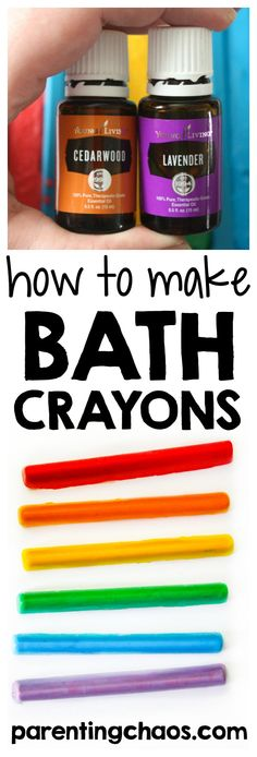 Kids Health Learn how to make homemade bath crayons with this simple tutorial. Your kids will have a blast making and playing with these homemade tub colors! - These homemade bath crayons are a perfect way to learn, explore, and create! Homemade Essential Oils, Essential Oils For Kids, Diy Crafts To Sell, Fun Crafts, Creative Crafts, Daycare Crafts, Nature Crafts, Bath Crayons, Diy Soap Crayons