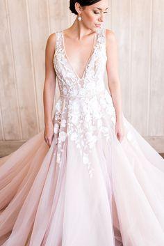 Modern Fairy Tale Wedding Dress in Blush and Ivory | http://heyweddinglady.com/styling-modern-bridal-tiara-blush-wedding-dress/