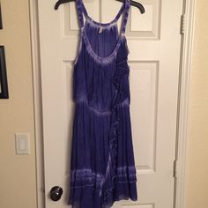 Free People dress Free People blue/purple tie dye dress with ruffle detail. No trades. Never worn. NWOT. No trades! Free People Dresses