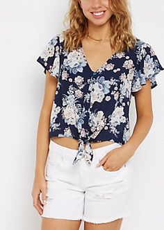 Floral Flutter Sleeve Knotted Front Blouse