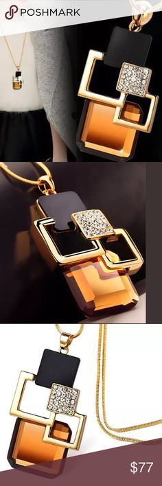 """🆕 BROWN GEO NECKLACE This is such a beautiful necklace. It has a brown/golden geometric design with crystal stones. A great pair this will be for a nice sweater. 23"""" length with 2"""" extender. -No trades. ALSO AVAILABLE IN BLUE. 51twenty Jewelry Necklaces"""