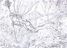 Bog flying through the dark forest Wild Things 3, Strange Magic, The Shape Of Water, Dark Forest, Beautiful Drawings, Animation Film, Anime Comics, Goblin, Cartoon Art