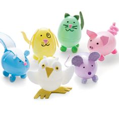 A Herd of Eggimals  After they've given up all their Easter candy, give your plastic eggs an adorable second life as an owl, skunk, dog, cat, pig, or mouse.