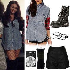 jesy nelson style 2015   Jesy Nelson: Tartan & Denim Shirt Outfit ...