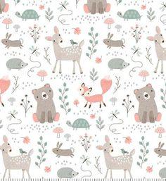 Into The Woods GREY Cotton Fat Quarter Bundle **bear leaf bunny fox mushroom**