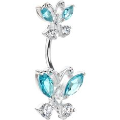 925 Silver Aqua Butterfly Belly Ring Created with Swarovski Crystals | Body Candy Body Jewelry