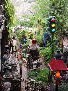 A decorated side yard/alley way in Jerome, AZ.