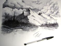 snow capped mountains drawing by SaraMeloni