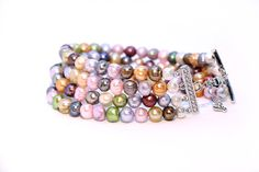 Freshwater Pearl Bracelet Multi-colored Pearl  by Femalehappiness