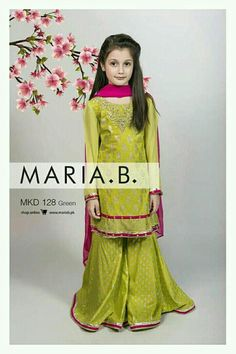 Maria B Stitched Eid Collection for Girls, Maria.b Biggest Stitched Eid collection Maria B Eid Collection 2016 For Girls and Kids Little Girl Outfits, Little Girl Fashion, Fashion Kids, Cute Fashion, Frocks For Girls, Kids Frocks, Gharara Designs, Kids Ethnic Wear, Kids Party Wear