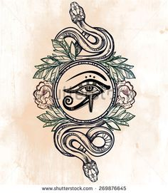 Hand-drawn vintage tattoo art. Vector illustration isolated.Ancient Egypt design in linear style. Eye of sun god Ra, laurel wreath and serpents snakes. Aged paper background. Magic alchemy objects.