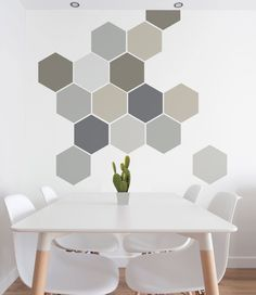 Great Christmas Present! Removable Wall Decal, Self Adhesive Geometric Wall Art in Neutral Colours by Nicematches on Etsy - Decoration For Home Deco Design, Wall Design, Pink Beige, Rose Beige, Navy Pink, Wall Paint Patterns, Painting Patterns, Geometric Wall Art, Wall Stickers Geometric